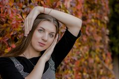 Portrait of pretty girl holding her haed stock image