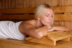 Beautiful girl enjoying in the sauna Royalty Free Stock Photo