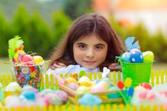 Pretty girl on Easter holiday stock image