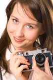 Portrait pretty girl with photo camera Stock Photography