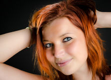 Portrait of a pretty girl with red hair Royalty Free Stock Photo