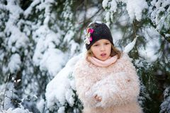 Portrait of the pretty girl of school age against the background of a snow-covered fir-tree. Royalty Free Stock Image