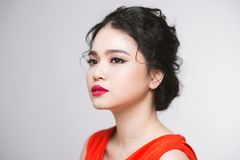 Portrait of pretty girl with with sensual red lips and beautiful. Face Royalty Free Stock Image