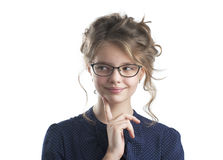 Portrait of a pretty girl sly.  Royalty Free Stock Photography