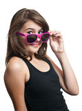 Portrait of a pretty girl teenager with sunglasses Stock Images