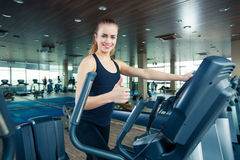 Portrait of pretty girl training on special sport Royalty Free Stock Photo