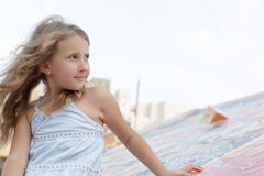 Portrait of a pretty girl in the wind Stock Images