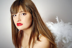 Portrait of pretty girl with wings of an angel Royalty Free Stock Photo