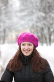 Portrait of a pretty girl in winter clothes Stock Photos