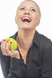 Portrait of Pretty and Happy Blond Female Laughing and Holding G Stock Photography