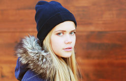 Portrait of pretty hipster girl in urban style Stock Photo