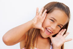 Portrait Of Pretty Hispanic Girl Shouting At Camera Stock Photography