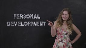 Portrait pretty housewife engaged in personal development in online school stock video