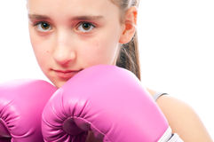 Portrait of pretty kick boxing girl Royalty Free Stock Photography