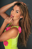 Portrait of pretty latina swimsuit fashion model. Posing in the studio Royalty Free Stock Images