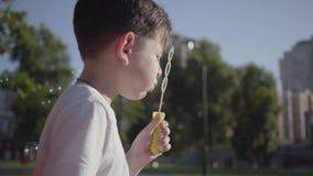 Portrait of pretty little boy blowing soap bubbles. Cute child spending time alone outdoors. Summertime leisure. Portrait of cute little boy blowing soap bubbles stock footage
