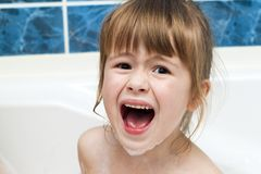 Portrait of pretty little girl in bath. Hygiene concept. Portrait of pretty little girl in bath. Hygiene concept Royalty Free Stock Image