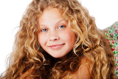 Portrait of pretty little girl with curly hair. Fashion photo Stock Image