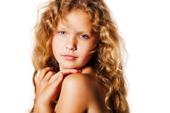Portrait of pretty little girl with curly hair. Stock Images