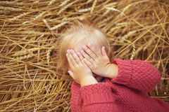 Portrait of a pretty little girl lies on a ears of wheat and closes his eyes Stock Image