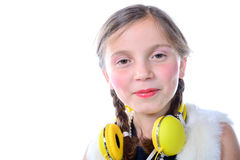 Portrait of a pretty little girl with pigtails Stock Photography