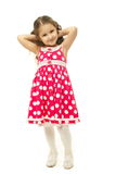 Portrait of a pretty little girl in pink dress. On white background royalty free stock photos