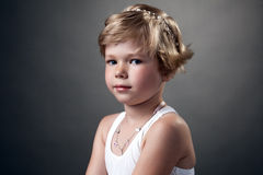 Portrait of pretty little girl posing in studio Stock Photo