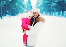 Portrait of a pretty mother and baby in the winter Royalty Free Stock Photography