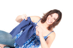 Portrait of pretty pregnant woman baby clothes Stock Image