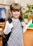 Portrait of pretty preschool girl with backpack Royalty Free Stock Photography