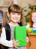 Portrait of pretty preschool girl with backpack Stock Images