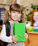 Portrait of pretty preschool girl with backpack Stock Photos