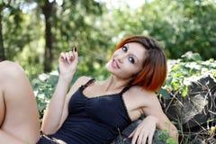 Portrait of pretty redhead girl Stock Image