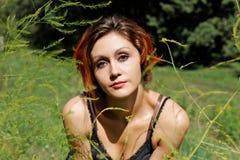 Portrait of pretty redhead girl summer Stock Photos
