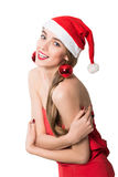 Portrait of pretty Santa girl laughing Stock Photos