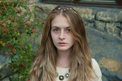 Portrait of pretty serious girl stock photo