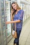 Portrait of a pretty smiling blonde woman buying frozen products and phoning Royalty Free Stock Photo