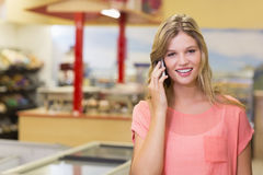 Portrait of a pretty smiling blonde woman buying products and phoning Stock Images