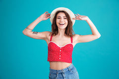 Portrait of a pretty smiling girl wearing hat Royalty Free Stock Image
