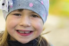 Portrait of pretty smiling little girl with one fallen out milk Stock Photography