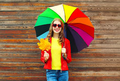 Portrait pretty smiling woman with colorful umbrella in autumn with maple leafs over wooden background wearing red leather jacket Stock Photography