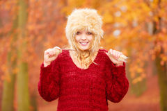 Portrait of pretty smiling woman in fur winter hat Royalty Free Stock Photo