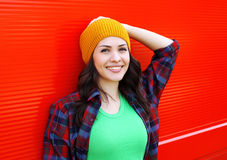 Portrait of pretty smiling young woman in casual clothes Royalty Free Stock Photos