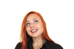 Portrait of a pretty smiling young woman looking up Royalty Free Stock Images