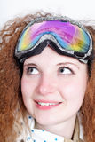 Portrait of pretty snowboarders wearing glasses Royalty Free Stock Image