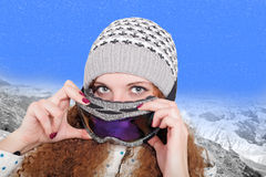 Portrait of pretty snowboarders winter Stock Photo