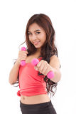 Portrait of pretty sporty girl, hand holding dumbbell Royalty Free Stock Photo