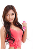 Portrait of pretty sporty girl, hand holding dumbbell Royalty Free Stock Images
