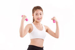 Portrait of pretty sporty girl, hand holding dumbbell Royalty Free Stock Photography