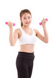 portrait of pretty sporty girl, hand holding dumbbell Royalty Free Stock Photos